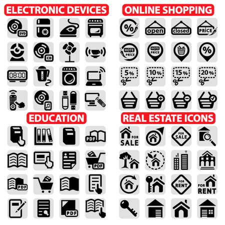 real estate icons: Elegant Vector Shopping, Education, Real Estate And Electronics Device Icons Set