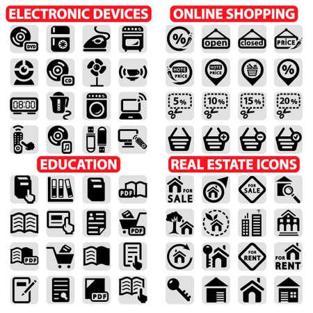 Elegante Vektor Einkaufen, Bildung, Immobilien und Elektronik Geräte Icons Set Illustration
