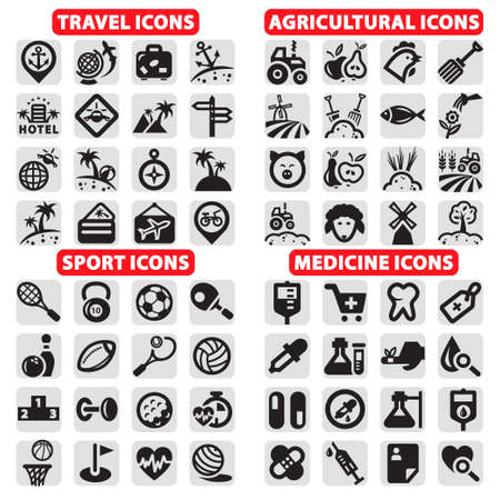 Elegante Vektor Reise, Sport, Landwirtschaft und Medizin Icons Set