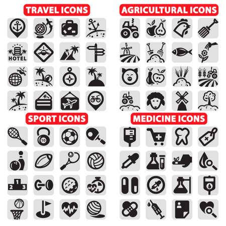 elegant vector: Elegante Viaggi vettore, sport, agricoltura e Medicina icone set