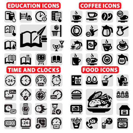 take time out: Elegant Vector Education, Coffee, Clock And Food Icons Set