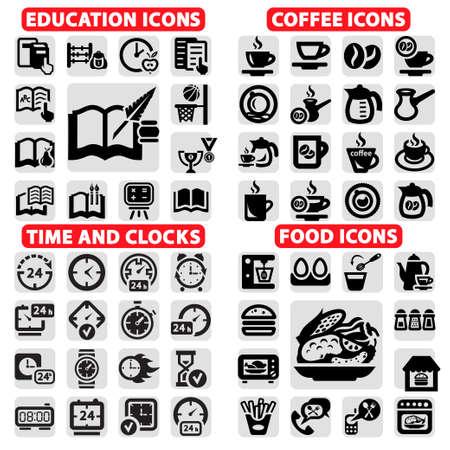 elegant vector: Set Elegante Vector Istruzione, Caff�, orologio e cibo Icone Vettoriali