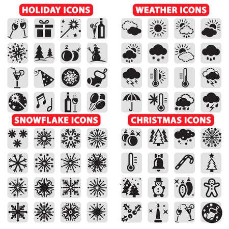 estado del tiempo: Elegant Holiday Vector, Navidad, copos de nieve y Iconos del tiempo establecido