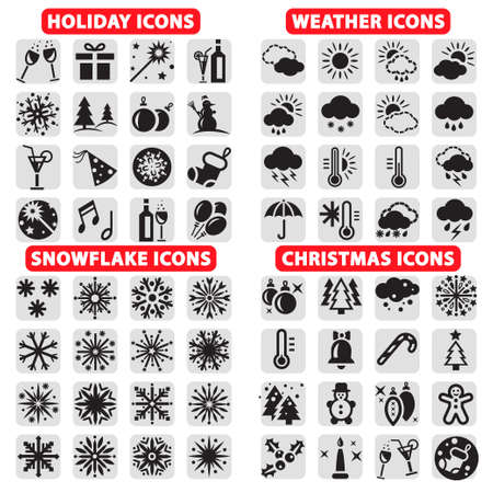 meteo: Elegante vacanze vettore, Natale, fiocchi di neve e Icone del tempo impostato