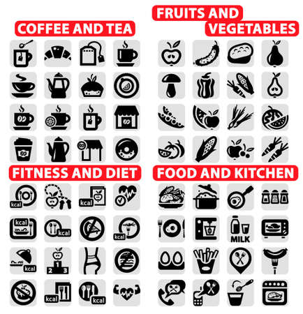 Elegant Vector Coffee and Tea, food, Fruits and Vegetables, Fitness and Siet Icons Set  Vector