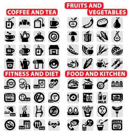 elegant vector: Elegante Vector caff� e t�, cibo, frutta e verdura, fitness e Siet Icons Set Vettoriali