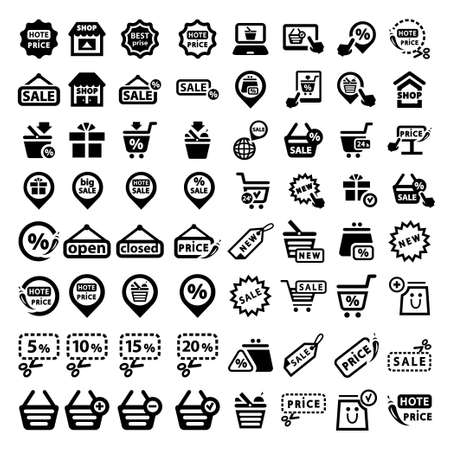 Elegant Shopping Icons Set Created For Mobile, Web And Applications  矢量图像