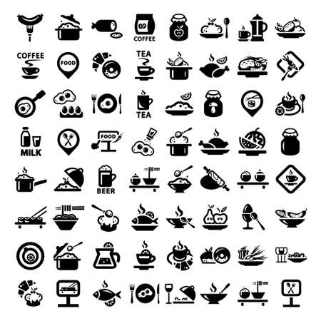 continental food: Elegant Food Icons Set Created For Mobile, Web And Applications