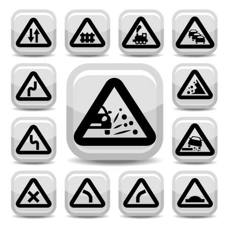 trafic stop: Elegant Traffic Signs Set Created For Mobile, Web And Applications  Illustration