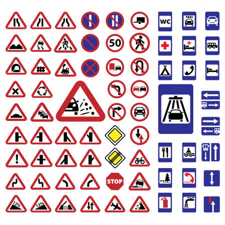 Elegant Traffic Signs Set Created For Mobile, Web And Applications  Stock Vector - 20785349