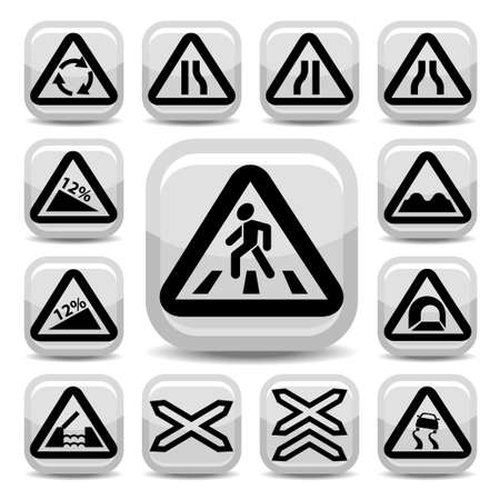 Elegant Traffic Signs Set Created For Mobile, Web And Applications  Vector
