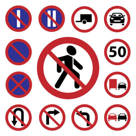 Elegant Traffic Signs Set Created For Mobile, Web And Applications  Stock Vector - 20785355