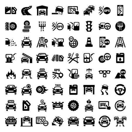 Big Auto Icons Set Created For Mobile, Web And Applications
