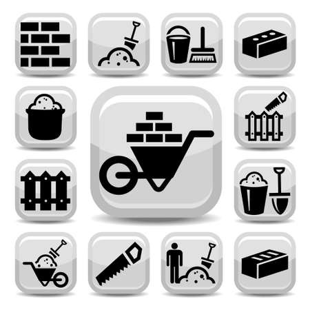 brick mason: Elegant Bricklayer Icons Set Created For Mobile, Web And Applications