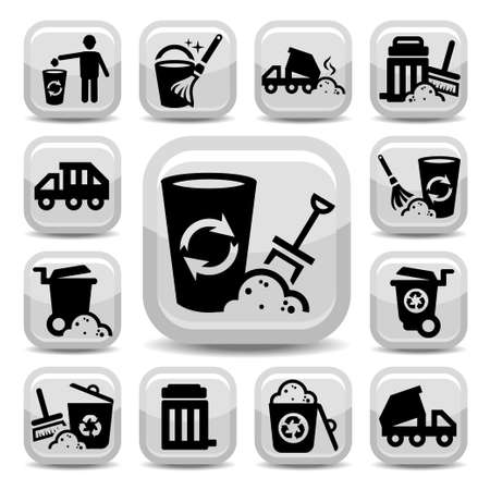 reprocess: Garbage And Cleaning Icons Set Created For Mobile, Web And Applications