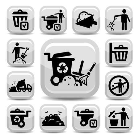 waste products: Garbage And Cleaning Icons Set Created For Mobile, Web And Applications