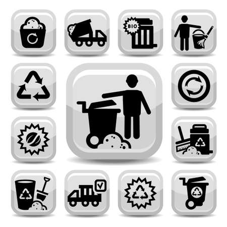 recyclable: Garbage And Cleaning Icons Set Created For Mobile, Web And Applications