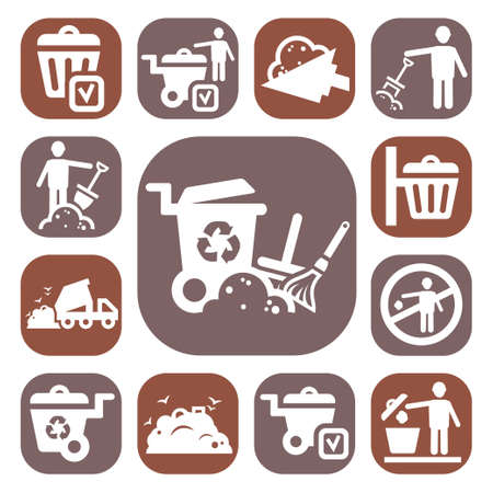 waste products: Color Garbage And Cleaning Icons Set Created For Mobile, Web And Applications
