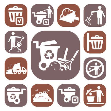 Śmieciarka: Ikony śmieci i chemiczna Kolor Zestaw Stworzony dla mobilnych, internetowych i aplikacji