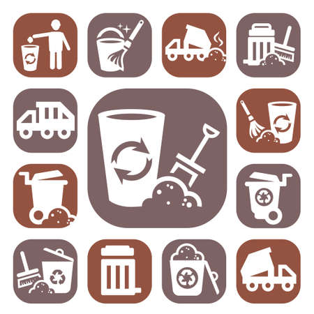 reprocess: Color Garbage And Cleaning Icons Set Created For Mobile, Web And Applications