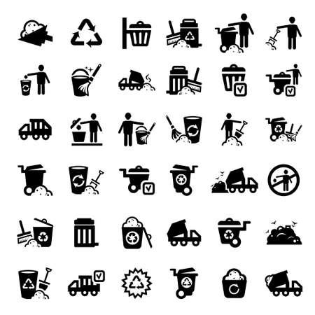 contaminacion ambiental: Basura y limpieza Iconos grandes del conjunto Creado Por Mobile, Web y aplicaciones Vectores