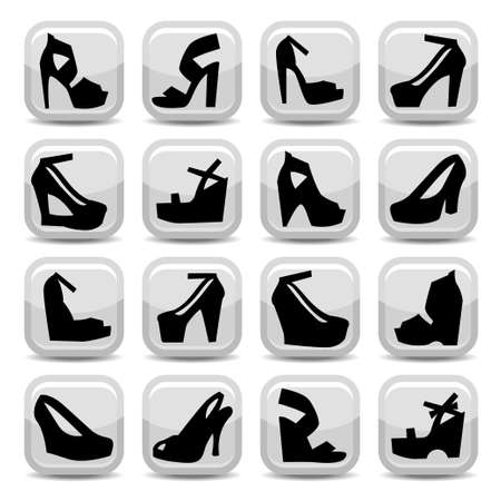 style: Elegant Fashion Shoes Icons Set Created For Mobile, Web And Applications.