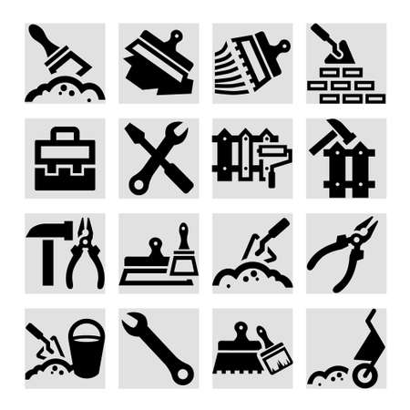 Elegant Construction And Repair Icons Set Created For Mobile, Web And Applications. Vector