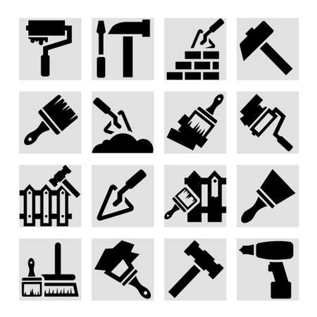 Elegant Construction And Repair Icons Set Created For Mobile, Web And Applications. Stock Vector - 20973355