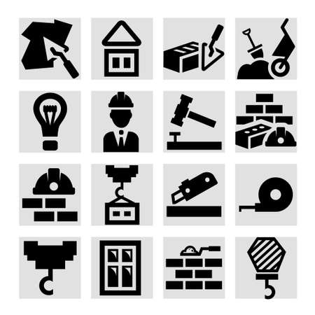 brick work: Elegant Construction And Repair Icons Set Created For Mobile, Web And Applications. Illustration