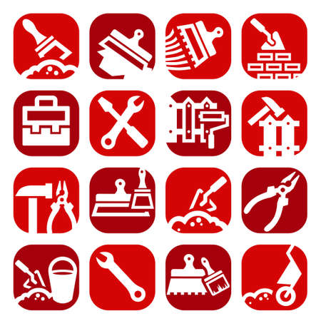 Color Construction And Repair Icons Set Created For Mobile, Web And Applications. Stock Vector - 20973370