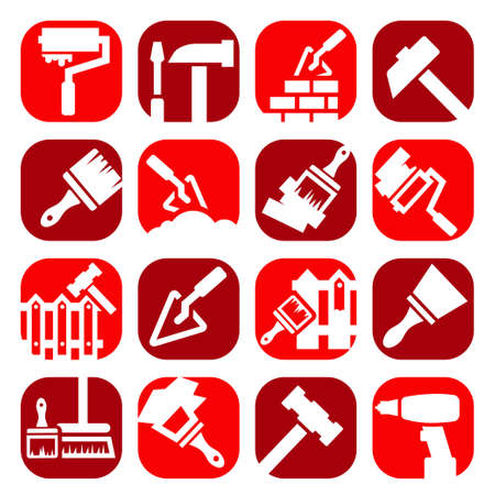 Color Construction And Repair Icons Set Created For Mobile, Web And Applications. Stock Vector - 20973368
