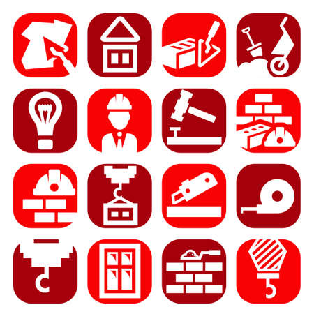 Color Construction And Repair Icons Set Created For Mobile, Web And Applications. Vector