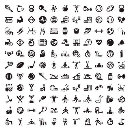 hand with dumbbell: 121 Fitness and Sport icons for web and mobile  All elements are grouped