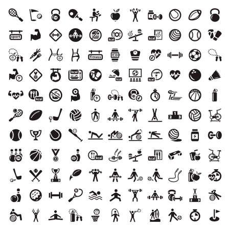 fitnes: 121 Sport i fitness Ikony internetowych i mobilnych elementów Wszystkie są pogrupowane Ilustracja