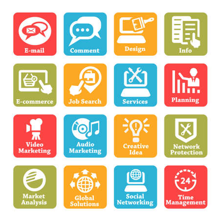 Color Seo And Internet Service Icons Set For Web And Mobile  Illustration