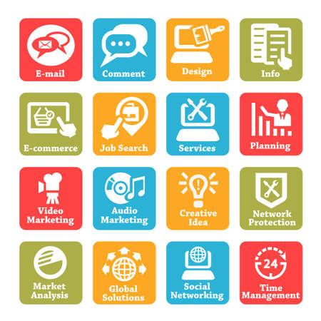 the internet: Colore Seo e Servizi Internet Icons Set per web e mobile Vettoriali