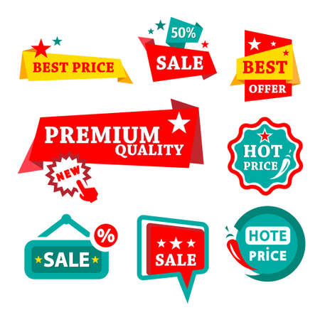 Colorful Sale   Discount Badges - Abstract Signs Set  Vector