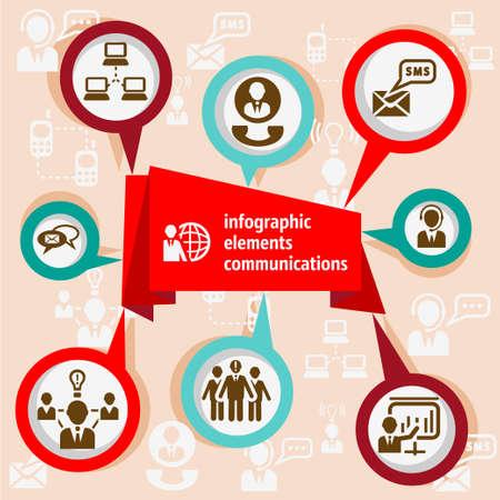 comunicación: Coloridos Elementos de Infografía y cintas concepto de comunicación y burbujas