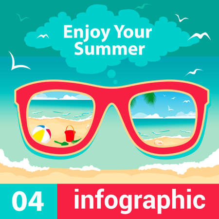 Summer Travel Card in retro Style  Vintage Vacation Postcard with Summer Items in Old Info-graphics Style   Vector