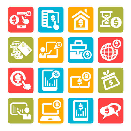 Color Business And Financial Icons Set. Stock Vector - 21729678