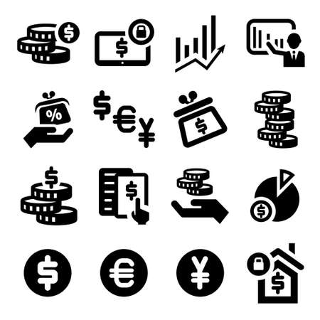 coin: Elegant Business And Financial Icons Set.