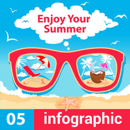 Summer Travel Card in retro Style. Vintage Vacation Postcard with Summer Items in Old Infographics Style. Stock Vector - 21729672