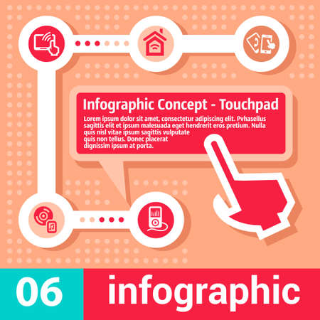 Colorfull Elegant Infographic Concept Touchpad. Vector