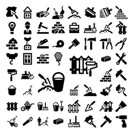 construction helmet: 58 Elegant Construction And Repair Icons Set Created For Mobile, Web And Applications.