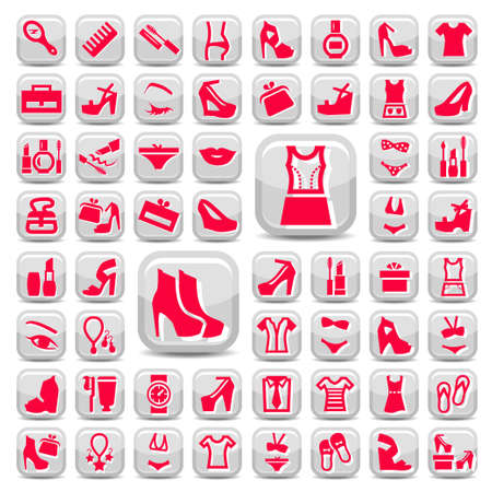 58 Red Construction And Repair Icons Set Created For Mobile, Web And Applications. Stock Vector - 21729708