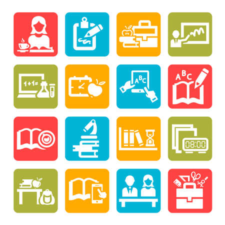 Color Education And School Icons Set. Stock Illustratie