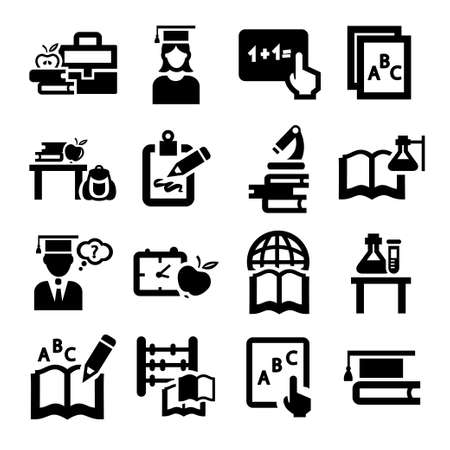 Elegant Education And School Icons Set. Vector