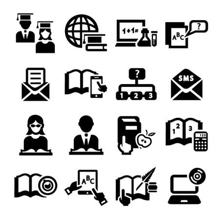 Elegant Education And School Icons Set.