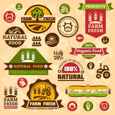 label: Boerderij verse etiketten. Biologische landbouw geïsoleerd teken set. Stock Illustratie