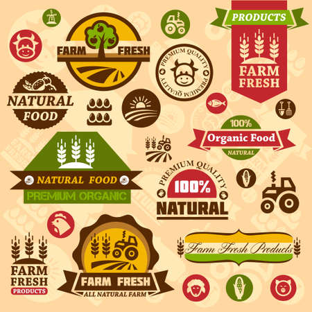 farmer: Farm fresh labels. Organic Farming isolated sign set. Illustration